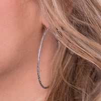 The Crystal Hoop Earring - Silver
