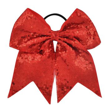 27 Colors 7 Inch High Quality Girls Sequins Ribbon Cheer Bows