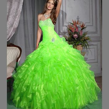 Lime Green Mermaid Quinceanera Dress with  Cascading Ruffles