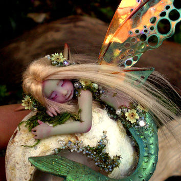 Pretty Mermaid Fairy on Shell by Celia Anne Harris OOAK - Made to Order