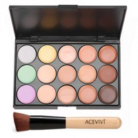 ACEVIVI 15 Colors Makeup Face Cream Concealer Palette + Powder Brush