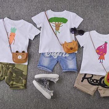 PEAPUNT 2016new summer fashion children short sleeve Interesting vegetable pattern t-shirt family matching outfits girl boy baby clothes
