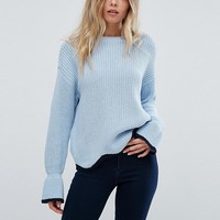 Vero Moda Flare Sleeve Contrast Edge Sweater at asos.com