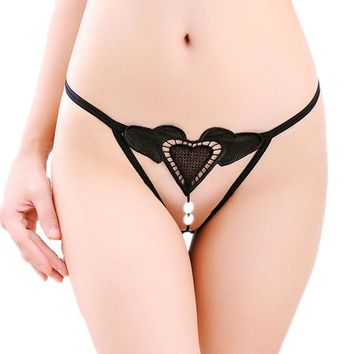 DKF4S New Love Heart Beading Sexy Women G-String Sexy Panties Briefs Underwear G String 7 Colors