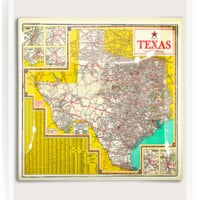 Touring Texas State Map Decoupage Glass Tray