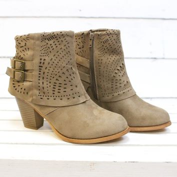 Denny Perforated Suede Bootie {Taupe}
