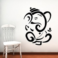 Wall Decal Vinyl Sticker Decals Home Decor Ganesh Hindu Indian God Ganesha Buddha Namaste Yoga Mandala Om Lotus Art Bedroom (6155)