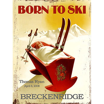 Personalized Born To Ski Wood Sign
