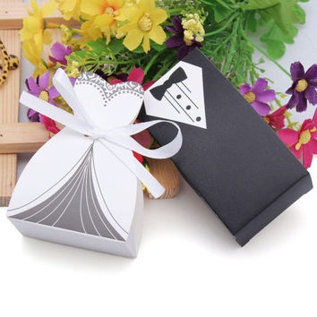 50Pcs Bridal Gift Cases Groom Tuxedo Dress Gown Ribbon Wedding Favor Candy Box (Color: Black white) = 1933185924