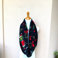 Grinch Christmas fleece infinity scarf. Merry Grinchmas is what the scarf says. Dr.Seus licensed fleece.