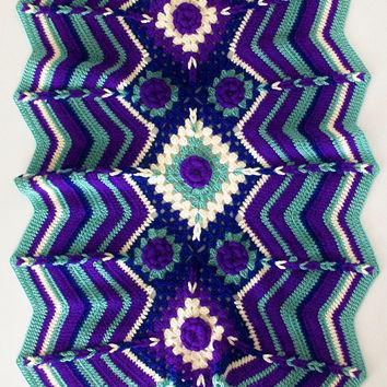 Baby Blanket Chevron Stripe Multi Color Roses 28X37 Retro Anthro Style Made to Order