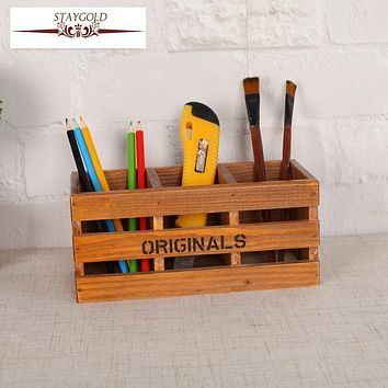 Staygold Zakka Hollow Three Pen Holder Solid Wood Storage Box Box Wood Craft Storage Box Small Parts Pen Container Home Decor
