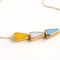 Sunny Arrow Necklace // White, Yellow, Blue and Gold // jewelry by LilahV