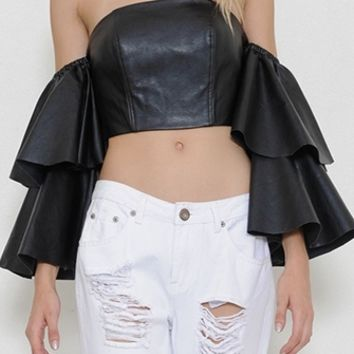 Tiering Up Black Faux Leather Off The Shoulder Ruffle Sleeve Crop Top