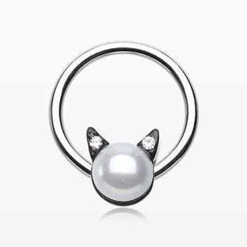 Pearlescent Sparkle Kitty Cat Captive Bead Ring