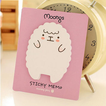 Memo Pads Sticky Notes Labels | Bookmark Korean Stationary Paper | School Office Supplies | Removable Adhesive Sheep Cute Post-It M23