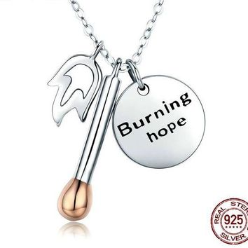 925 Sterling Silver Burning Hope Match Pendant Necklace