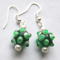 Green St Patricks Day Earrings - Lampwork Green Glass Bead & Pearl Dangle Earrings