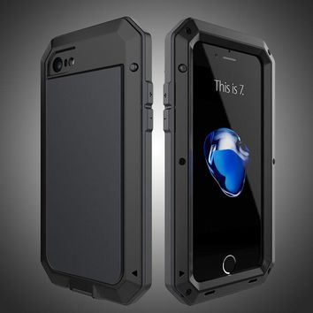 AKASO Full Cover Luxury Rugged Armor Shockproof Metal Aluminum Case for iPhone 7 6 6s Plus Series +Tempered glass