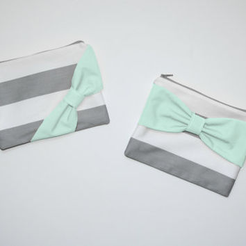 Makeup Bag / Cosmetic Case / Zipper Pouch - Gray Stripes with Mint Bow - Choice of Bow Style