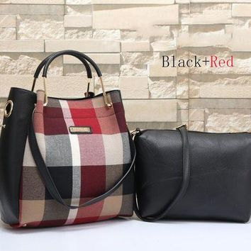 Burberry Fashion Women Leather Shoulder Bag Satchel Tote Handbag Crossbody Two Piece Set G