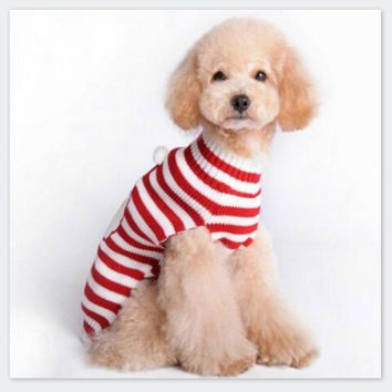 Santa Claus Striped Cartoon Dog Sweater Clothes Winter Warm Reindeer Knit Clothes for Dogs Puppy Xmas Coat Apparel Christmas Sweaters Xmas