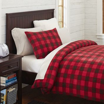 Fleece Duvet Cover + Sham, Buffalo Check Red