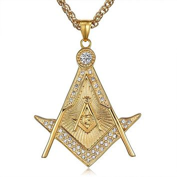 Double Square Compass G Freemasonry Masonic Pendant Necklace