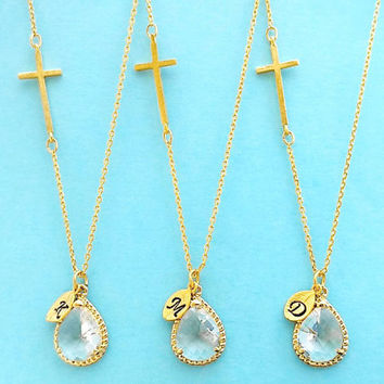 Set of 1-4, Personalized, Letter, Initial, Sideways, Cross, Clear, Glass, Stone, Gold, Silver, Necklace, Sets, Wedding, Bridal, Gift