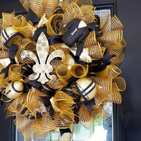 New Orleans Saints Wreath, Saints Door Hanger, Saints Wreath, New Orleans Saints Football