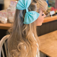 Oversized Huge Pastel Mint Green Hair Bow Rockabilly Pin Up Girl Hair Clip