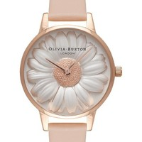 Olivia Burton Flower Show Leather Strap Watch, 30mm | Nordstrom