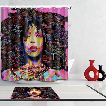 Beautiful African American Women with Beautiful Hair Shower Curtain
