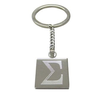 Silver Toned Etched Mathematical Greek Sigma Symbol Pendant Keychain