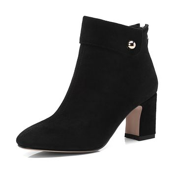 Pointed Toe Zipper Block Heel Ankle Boots Women Shoes 4321