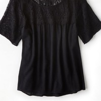 AEO 's Lace Shoulder T-shirt