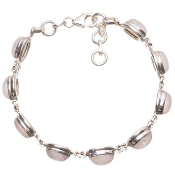 """Natural Rainbow Moonstone Handmade Mexican 925 Sterling Silver Bracelet 7-7 1/2"""" S2056"""