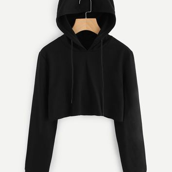 3D Cat ears hoodie crop sweater