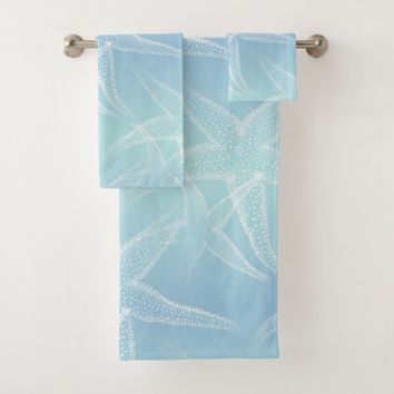 Starfish Aqua Blue Beach Towel Set