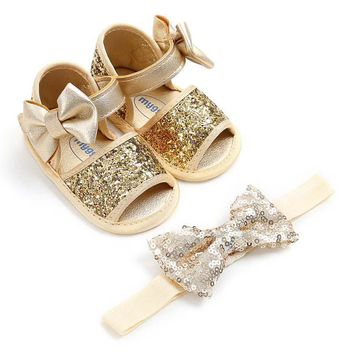 Sequins Bow Glitter Headband & Soft Sole PU Walkers Baby Shoes Set / gold, silver or pink