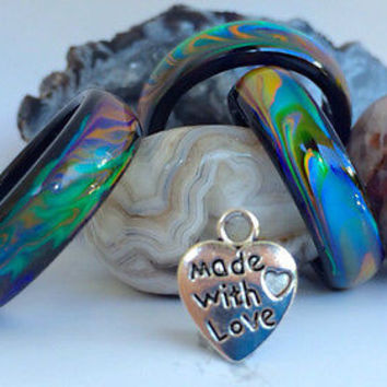 Genuine Black Agate Colour Changing Mood Ring !! + FREE Heart Pendant !!