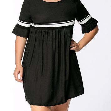 Streetstyle  Casual Bell Sleeve Empire Striped Round Neck Plus Size Flared Dress