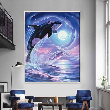 Whale painting on Canvas  modern art animal oil painting Wall Art Pictures for living room home decor hand painted beautiful whale art decor