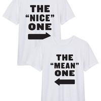 The Nice One The Mean One BFF Best Friends Forever Women's Casual T-Shirt 2pc Set