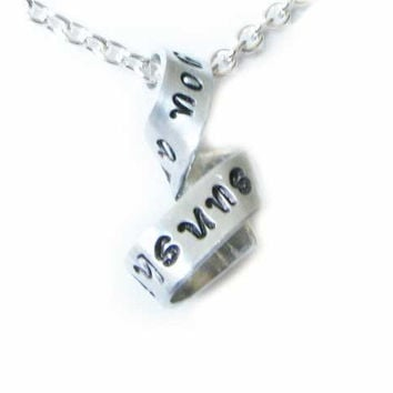 Sunshine Free-form Necklace, You are my sunshine Pendant, Hand Stamped Jewelry, Personal message Necklace