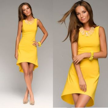 2015 New Fashion Summer Dress Yellow Asymmetrical Sleeveless Casaul Dress Work Wear
