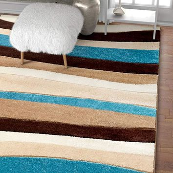6087 Blue Carved Contemporary Area Rugs