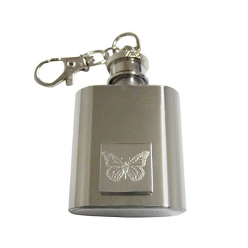 Silver Toned Etched Simple Butterfly Bug 1 Oz. Stainless Steel Key Chain Flask