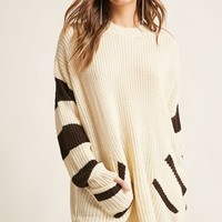 Oversized Stripe-Trim Sweater