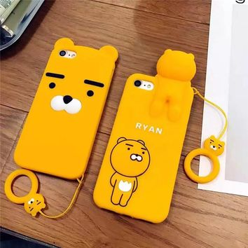 3D Silicone Soft Cartoon Case For iPhone X 6 6s 7 8 Plus Korean Ryan Phone Cases For iPhone 6 6s Plus Cover Case Cute Cartoon